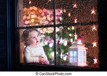 karácsony, leány, előest, totyogó kisgyerek