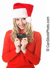 karácsony, leány, tehetség kártya