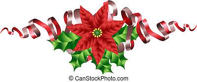 karácsony, mikulásvirág, magyal, és, szalag, motívum