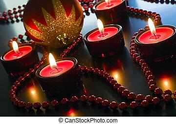 karácsony, piros, candles.