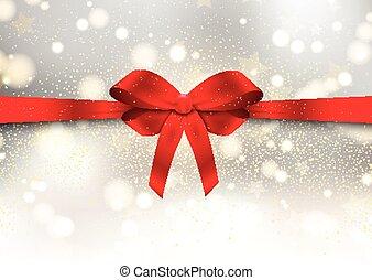 karácsony, piros, sima, háttér, íj