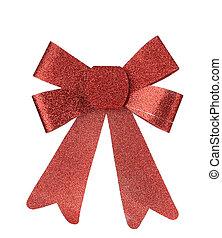 karácsony, piros szalag, decoration.