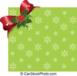 karácsony, piros szalag, képben látható, zöld