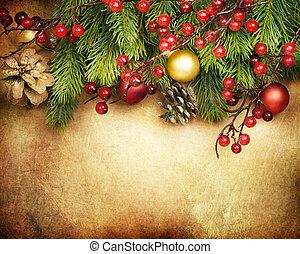 karácsony, retro, kártya, határ, tervezés