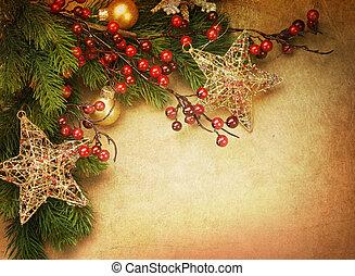 karácsony, retro, kártya