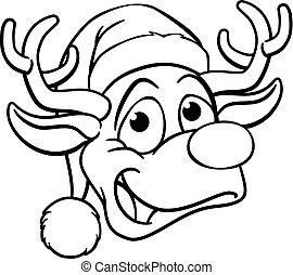 karácsony, santa kalap, rénszarvas
