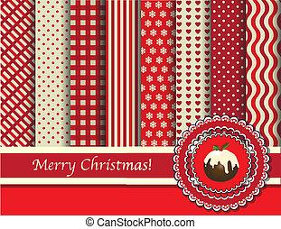 karácsony, scrapbooking, piros, és, krém
