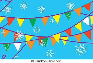karácsony, seamless, határ, noha, zászlók, és, hó