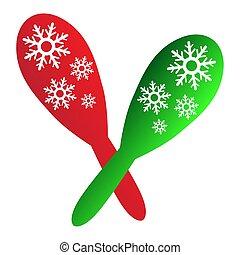 karácsony, színezett, maracas