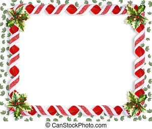 karácsony, szalag, cukorka
