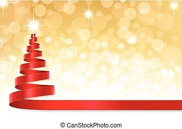karácsony, szalag, fa, noha, arany-, defocused, háttér