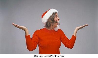karácsony, szent, nő, ámuló, kalap, pártfogó