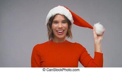 karácsony, szent, nő, having móka, kalap, pártfogó