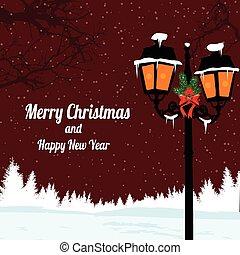 karácsony, táj, este