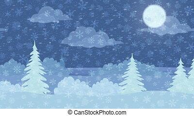 karácsony, táj, tél, erdő, seamless, bukfenc