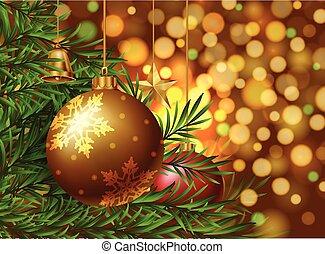karácsony, téma, háttér, noha, dísztárgyak, képben látható, a, fa