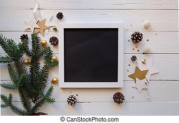 karácsony, téma, noha, keret, és, white, fából való, háttér