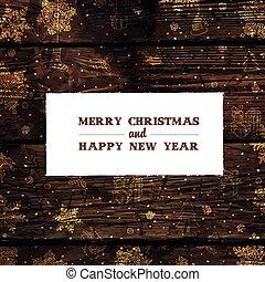 karácsony, tervezés, retro, vector., címzett, template., kártya