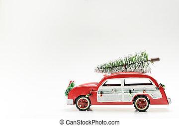 karácsony, tető, piros, szüret, kevés, szállítás, fa, autó