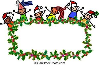 karácsony, transzparens, gyerekek