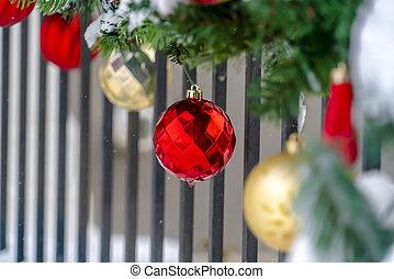 karácsony, védőkorlát, apróságok, girland, előcsarnok