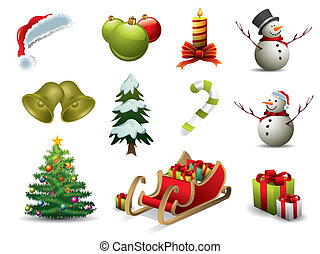 karácsony, vektor, ikonok
