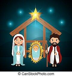 karácsony, vidám, karikatúrák