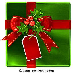 karácsony, zöld, tehetség, noha, piros szalag, és, íj