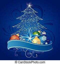 karácsonyfa, és, dekoráció