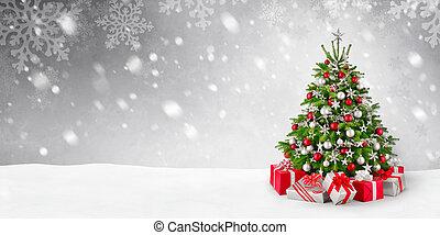 karácsonyfa, és, hó, háttér