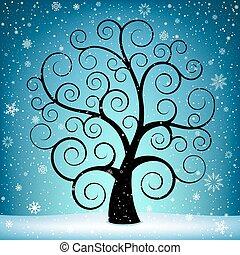 karácsonyfa, és, hó