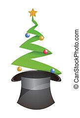 karácsonyfa, és, kalap