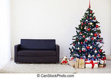 karácsonyfa, a házban, helyett, karácsony, belső