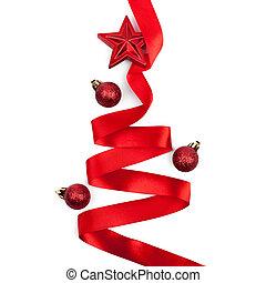 karácsonyfa, alapján, szalag, háttér