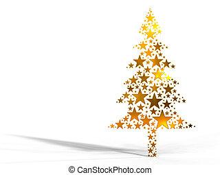 karácsonyfa, elkészített, alapján, arany-, csillaggal díszít