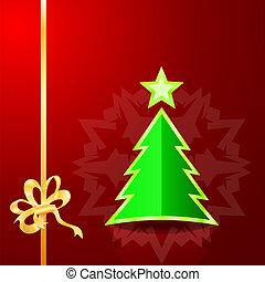 karácsonyfa, képben látható, a, piros háttér