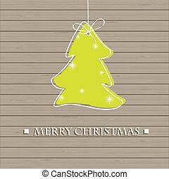karácsonyfa, képben látható, a, wooden közfal