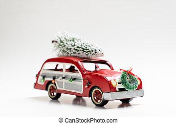 karácsonyfa, kevés, szállítás, szüret, piros autó, tető