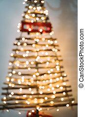 karácsonyfa, ki, közül, összefut.