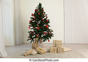 karácsonyfa, noha, ajándékoz, alatt, a, szoba, noha, egy, tél, dekoráció, helyett, a, újév