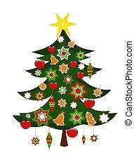 karácsonyfa, noha, dísztárgyak