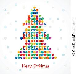 karácsonyfa, noha, elvont, színes, doted, motívum