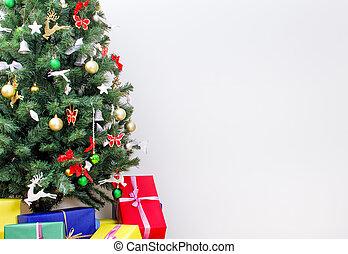 karácsonyfa, noha, gifts., állás, helyett, -e, text.