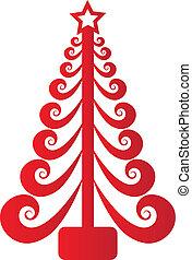 karácsonyfa, piros, swirly, vektor