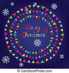 karácsonyi üdvözlőlap, noha, zászlódísz, zászlók, keret