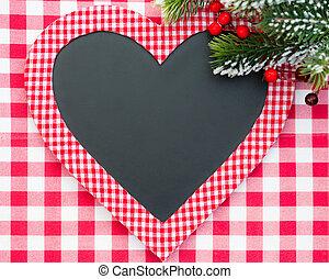 karácsonyi üdvözlőlap, tiszta, alatt, szív alakzat
