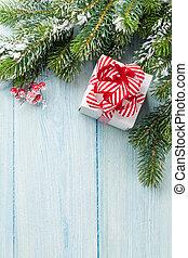 karácsonyi ajándék, doboz, és, fenyő fa, elágazik