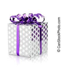karácsonyi ajándék, doboz, noha, szalag
