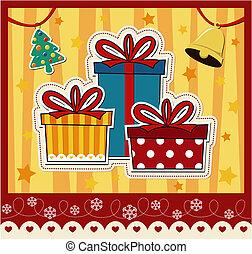 karácsonyi ajándék, dobozok, köszönés kártya