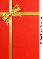 karácsonyi ajándék, határ, gold szalag, íj, piros háttér, függőleges